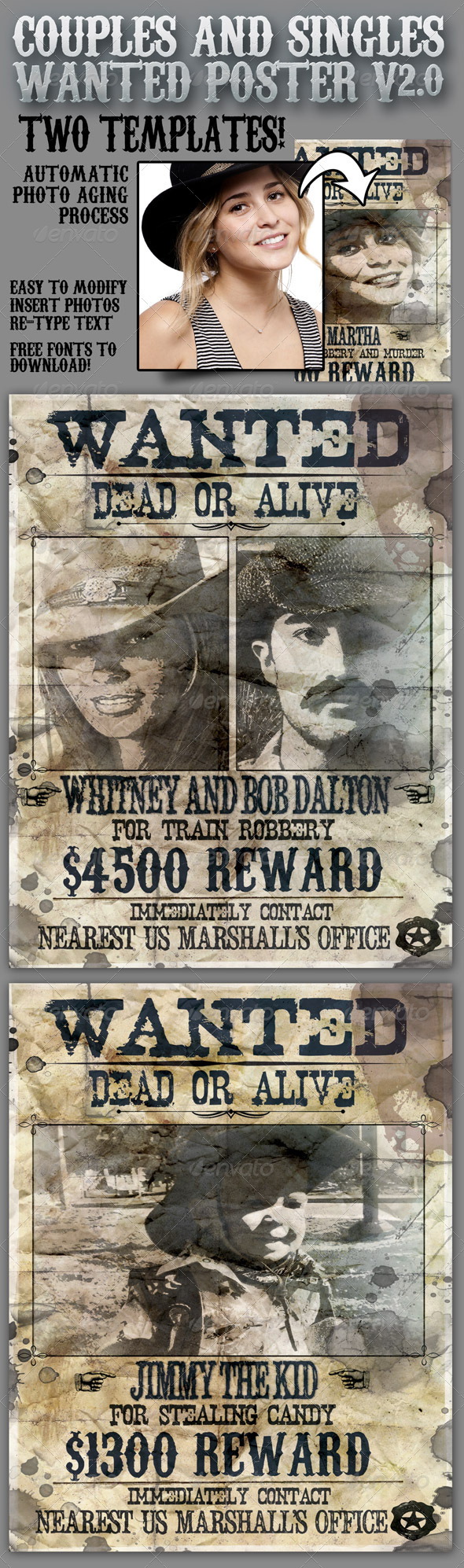 Wanted Poster 8.5x11 for Singles and Couples V2.0 - Flyers Print Templates