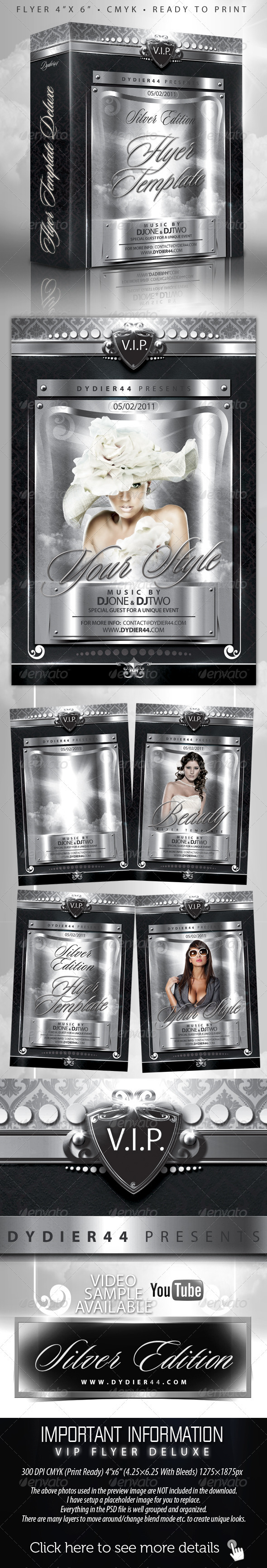 V.I.P Silver Deluxe (Flyer Template 4x6) - Clubs & Parties Events