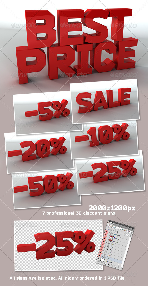 3D Sale Signs Pack - Text 3D Renders