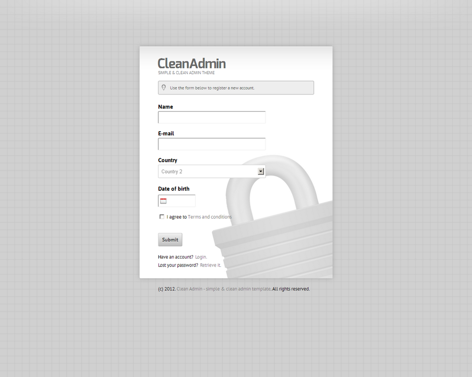 Clean Admin - Super Simple Admin Template - Clean Admin - Register form on light silver theme