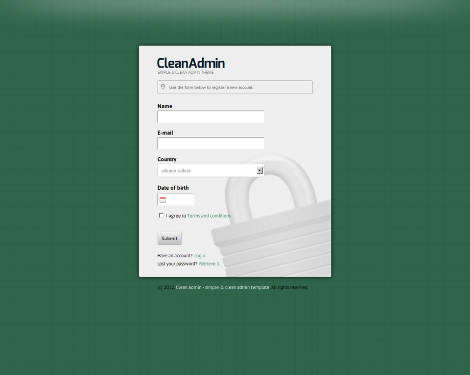 Clean Admin - Super Simple Admin Template - Clean Admin - Register form on green theme