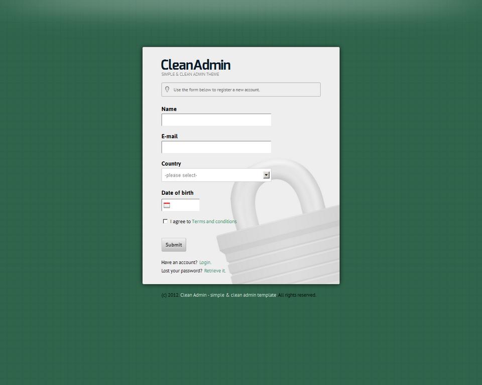 Clean Admin - Super Simple Admin Template - Clean Admin - Register form on green theme