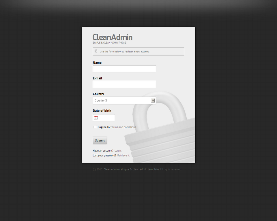 Clean Admin - Super Simple Admin Template - Clean Admin - Register form on dark silver theme