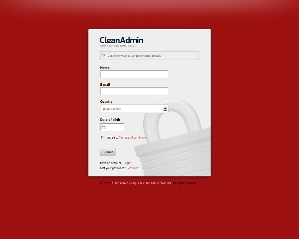 Clean Admin - Super Simple Admin Template - Clean Admin - Register form on red theme