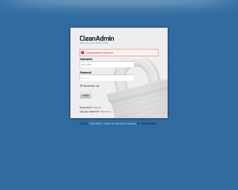 Clean Admin - Super Simple Admin Template - Clean Admin - Login form on blue theme