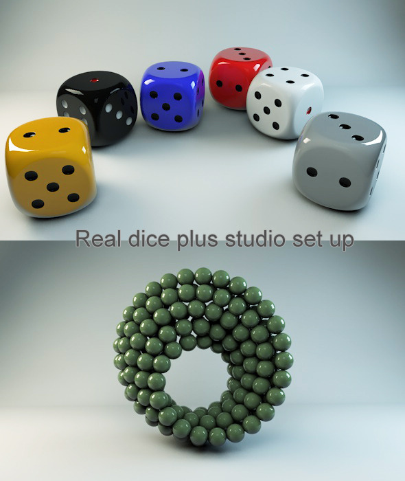 Real dice, Materials and studio scene