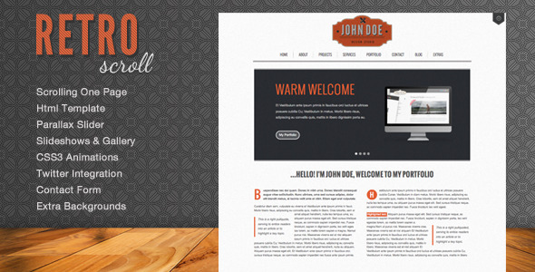 Retro Scroll - Creative One Page Html Template - Portfolio Creative