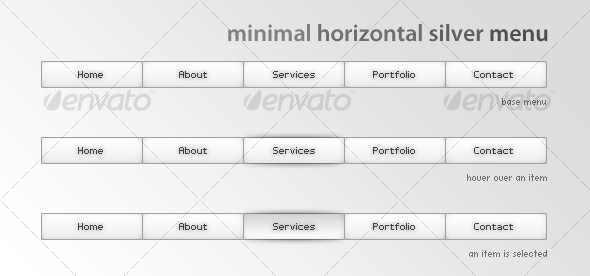 Minimal horizontal silver menu - Buttons Web Elements