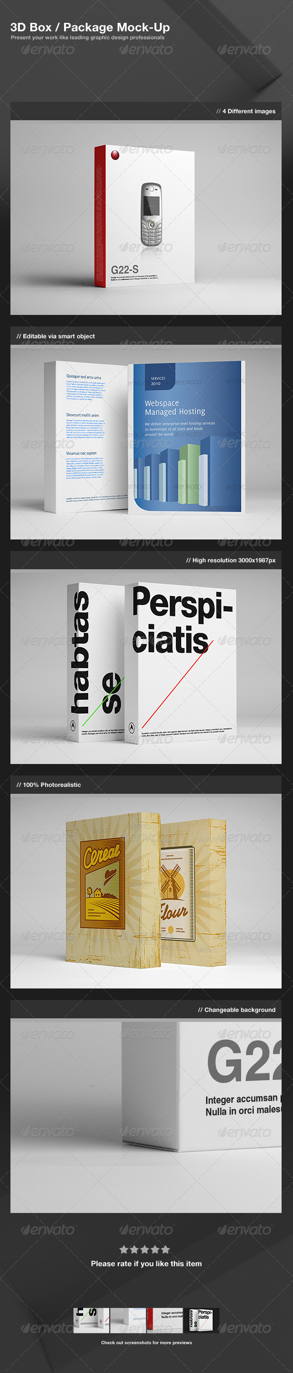 3D Box Package Mock-Up