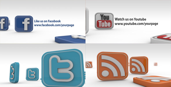 After Effects Project - VideoHive The Social Network 3D Icons 2263476