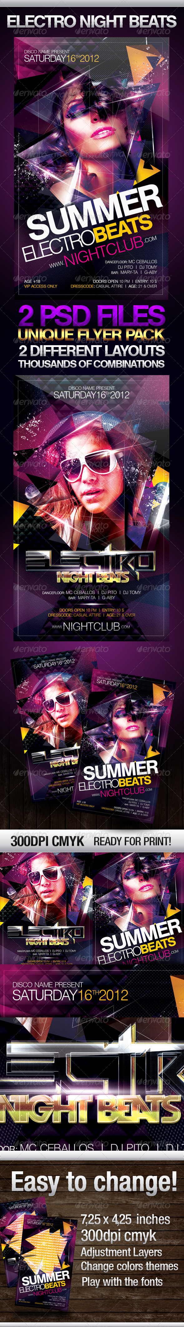 Electro Night Beats  - Flyers Print Templates