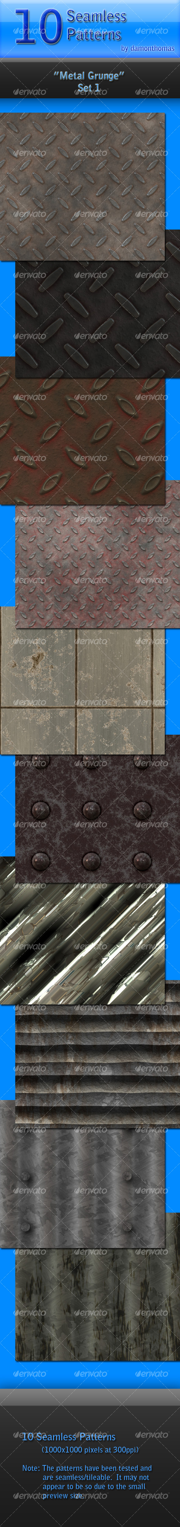 GraphicRiver 10 Metal Grunge Seamless Patterns 82762