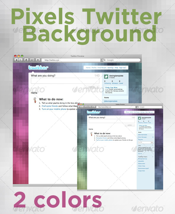 GraphicRiver Pixel Twitter Background 84717