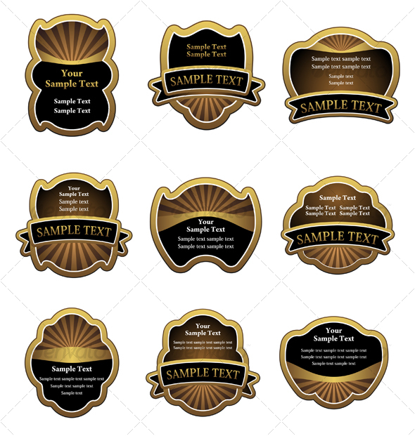 Set of vintage brown labels - Decorative Vectors