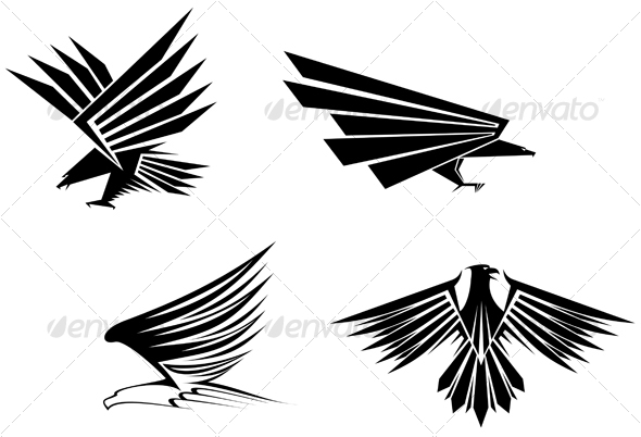 Eagle symbols for design - Tattoos Vectors