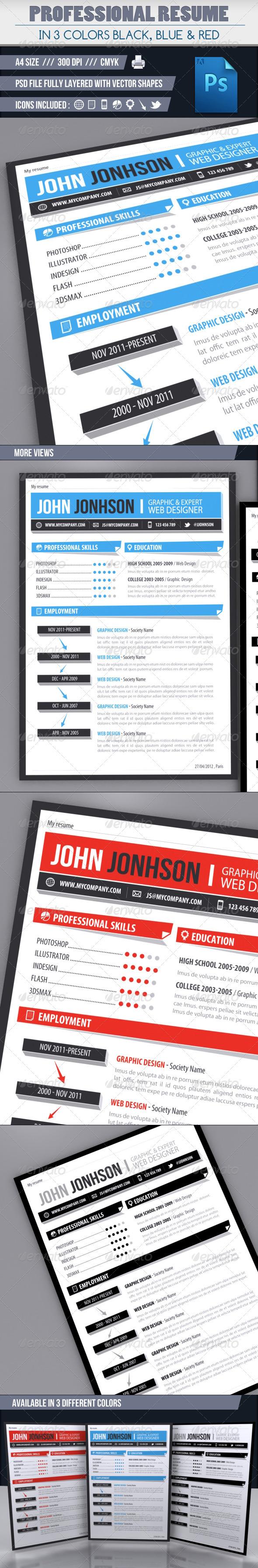 Modern resume in 3 colors
