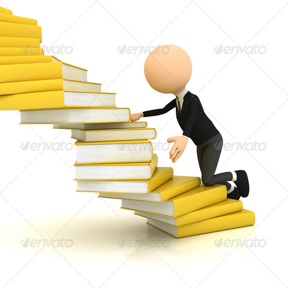 3d person with books over white - Stock Photo - Images