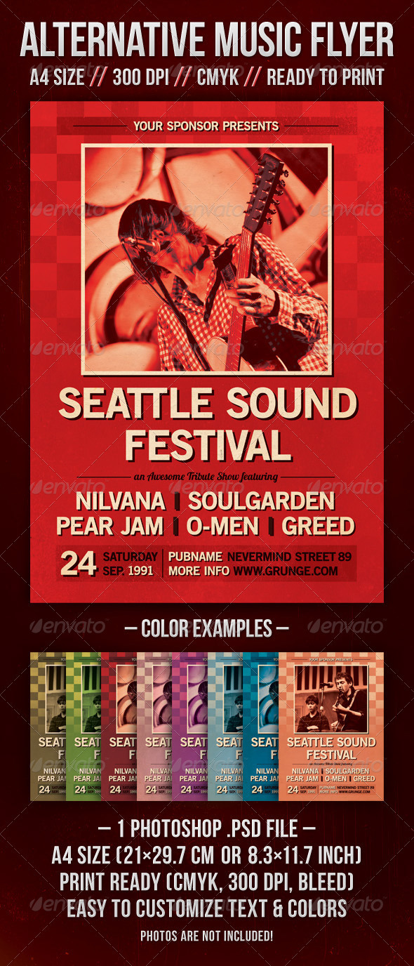 Alternative Music Flyer - Seattle Sound Fest - Concerts Events