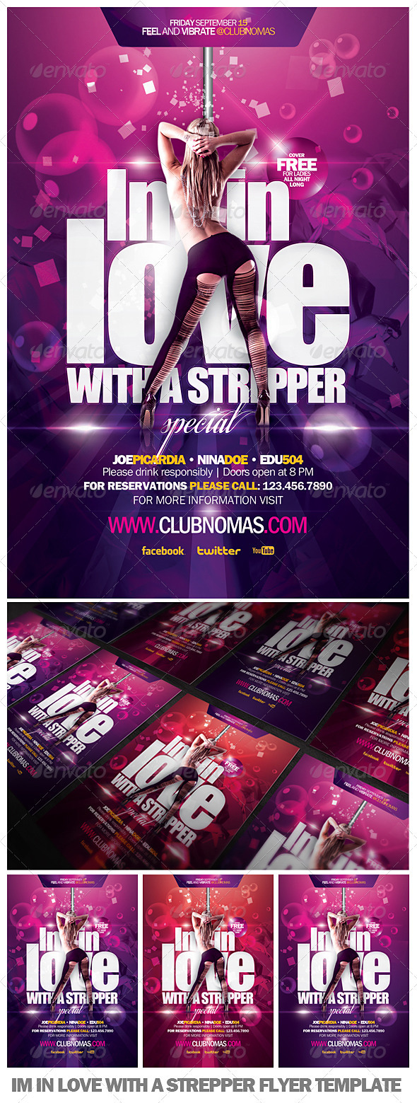 I'm In Love With a Strepper Flyer Template  - Clubs & Parties Events