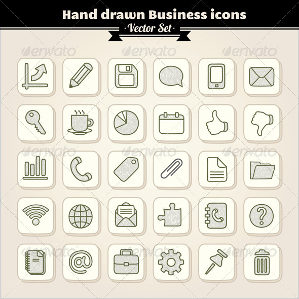 Hand Drawn Web, Business and Office Icons - Web Elements Vectors