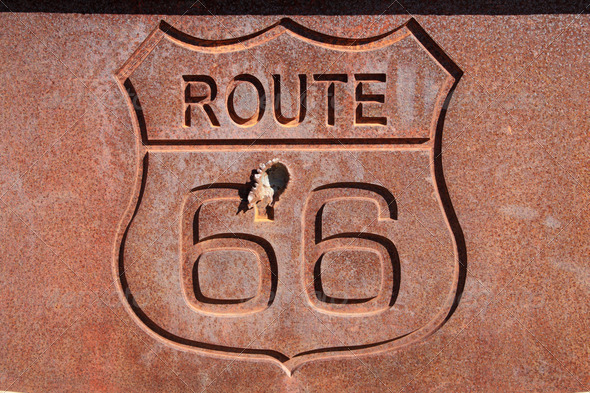 rusty route 66 sign - Stock Photo - Images