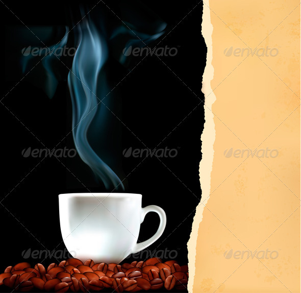 Background with Cup of Coffee and Old Ripped Paper - Food Objects