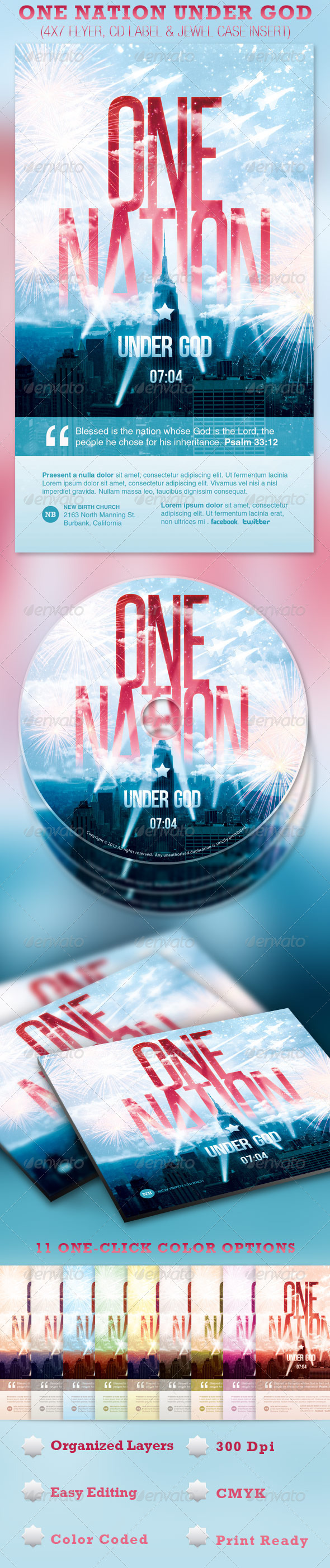 GraphicRiver One Nation Under God Flyer and CD Template 2279418