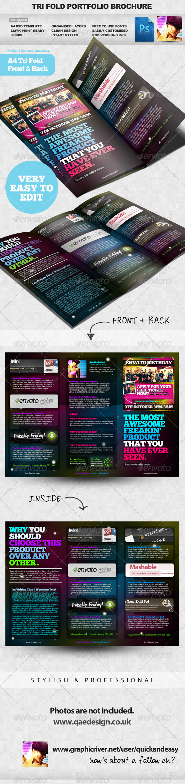 Product Portfolio A4 Three Fold Brochure Layout