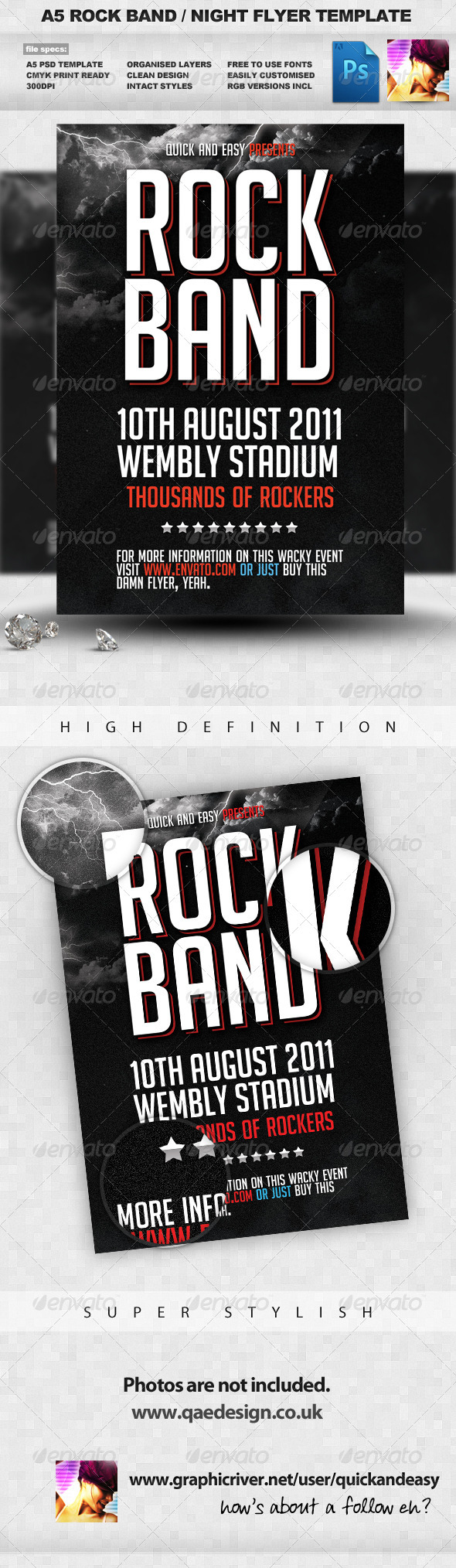 Rock Band Flyer Template - Clubs & Parties Events