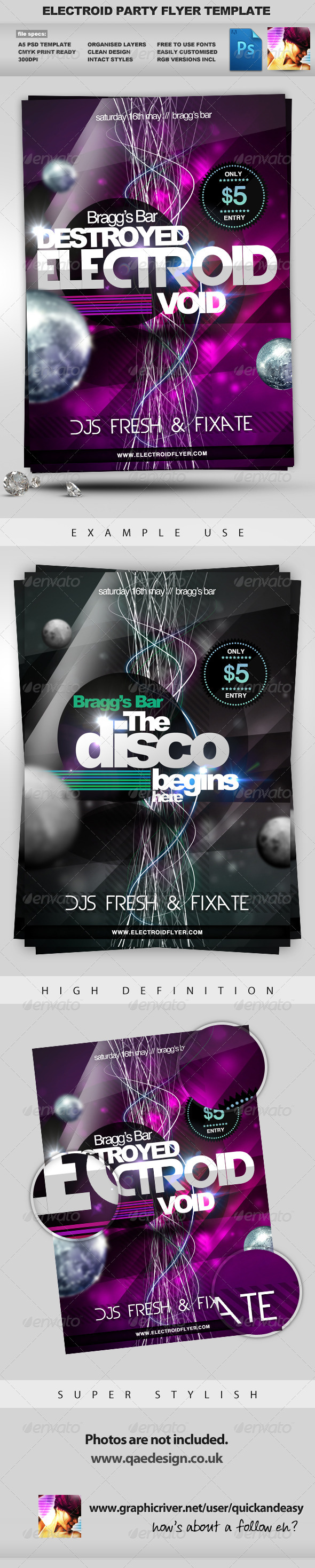 Electroid - A5 Night Club Event Flyer Template - Clubs & Parties Events