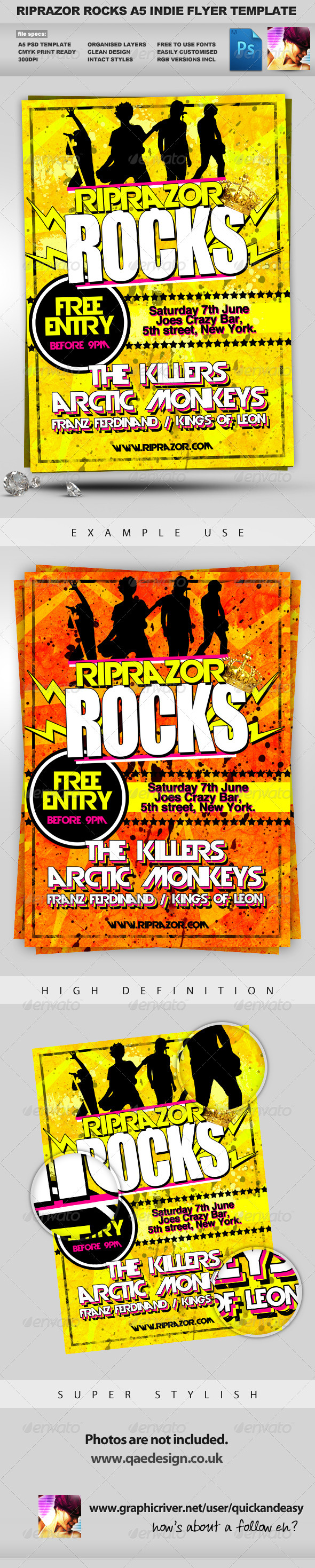 Graphic River RipRazor A5 Rock n Roll Indie Club Event Flyer Print Templates -  Flyers  Events  Clubs & Parties 336055
