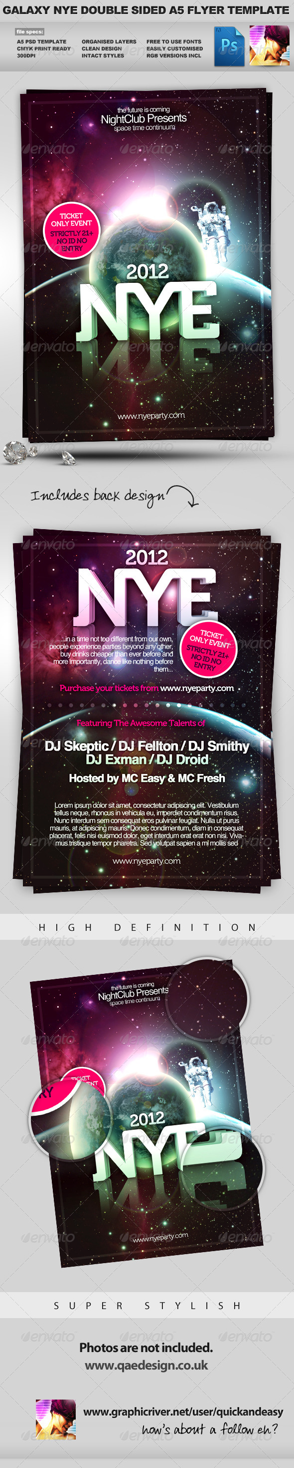 Galaxy NYE - Double Sided A5 PSD Flyer Template - Clubs & Parties Events