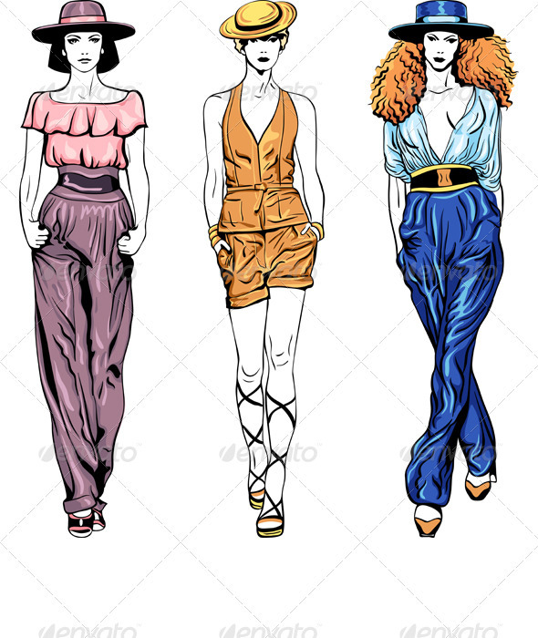 Vector Set Fashion Top Models in Trouser Suits - People Characters