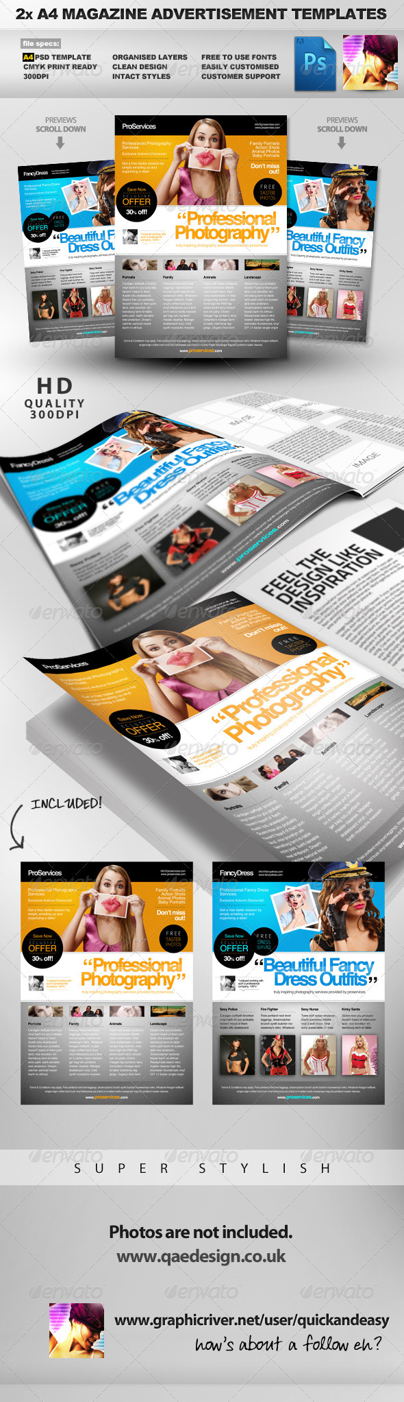 Pro Services - 2 A4 Magazine Ad Templates - Magazines Print Templates
