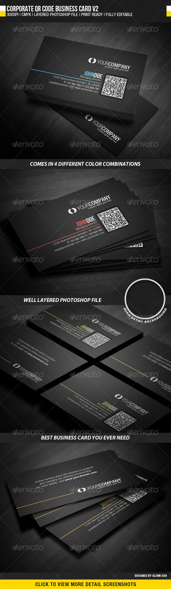 Corporate QR Code Business Card V2 - Corporate Business Cards