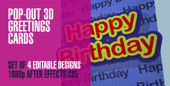 VideoHive Pop-Out 3D Greetings Cards Template 4 Designs 2284598