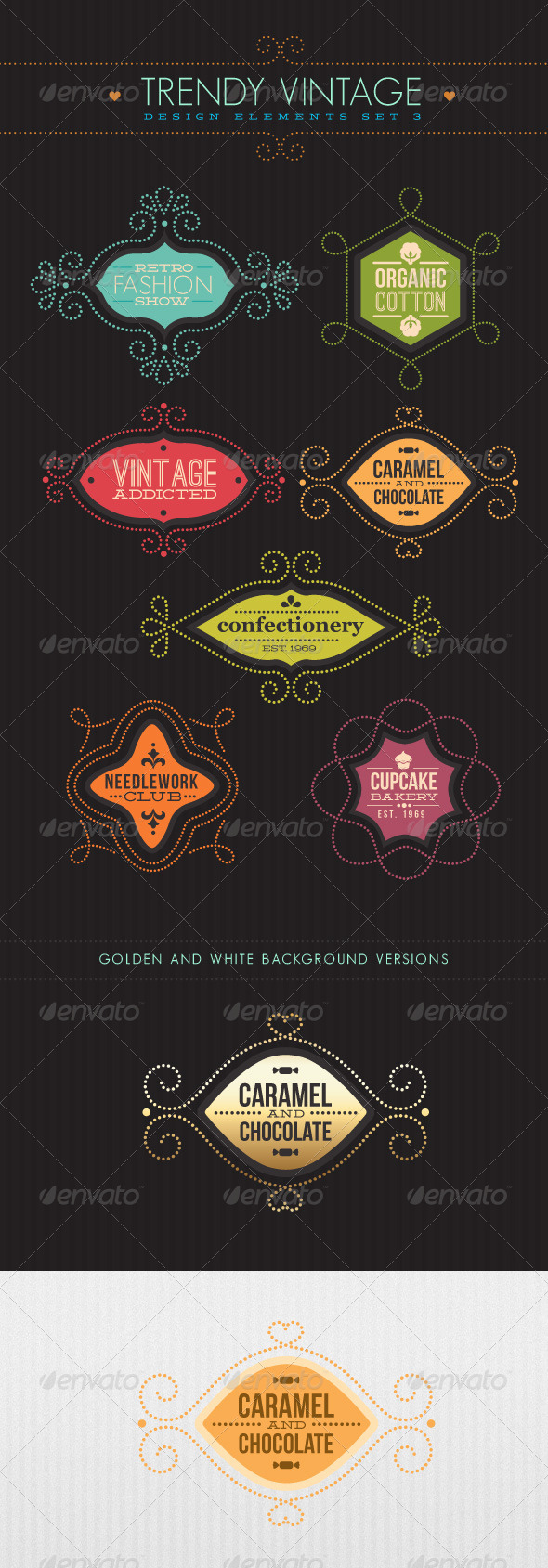 GraphicRiver Trendy Vintage Vector Design Elements Set 3 2285311