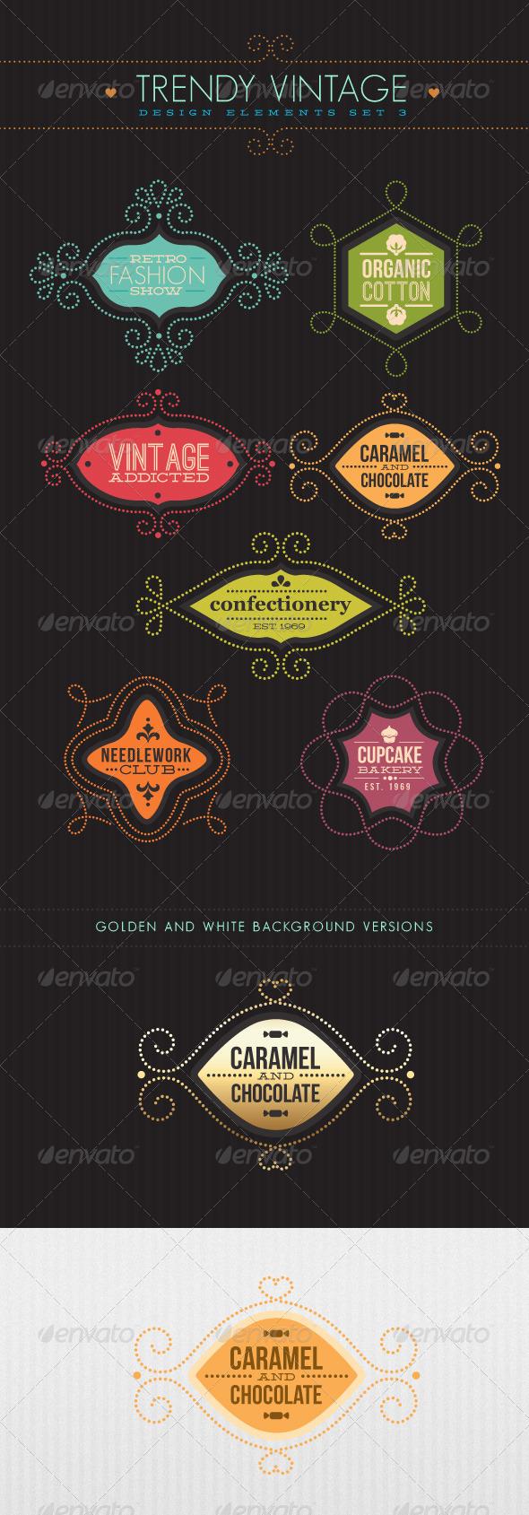 Trendy Vintage Vector Design Elements Set 3 - Flourishes / Swirls Decorative