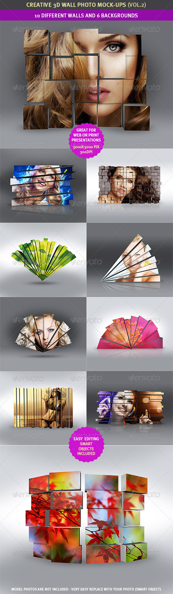 3D Wall Photo Mock-Ups 2