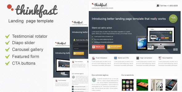Thinkfast multi purpose landing page template