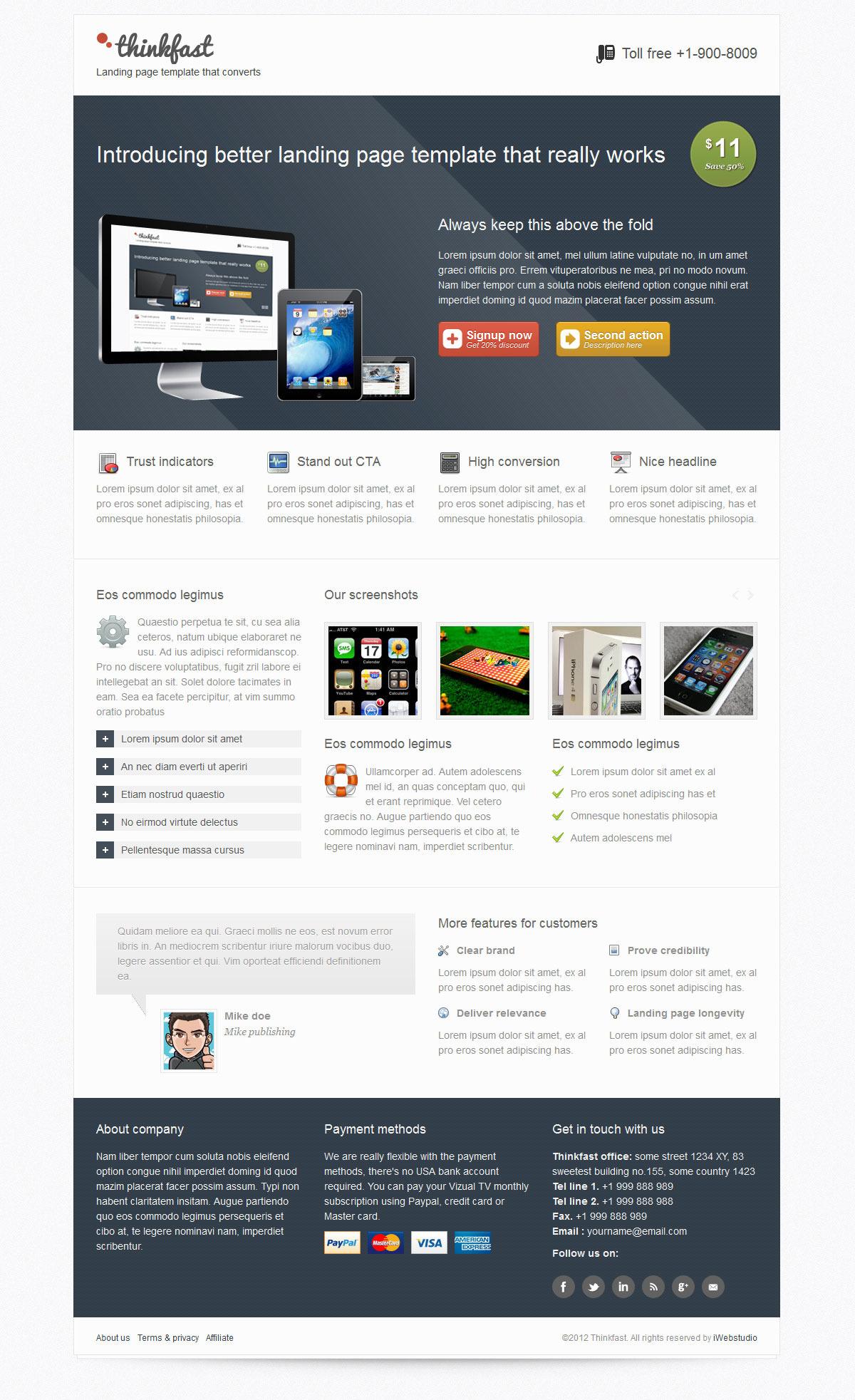 Thinkfast multi purpose landing page template