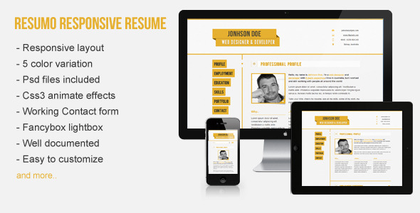 Responsive Resume/CV Resumo - The image for the description page