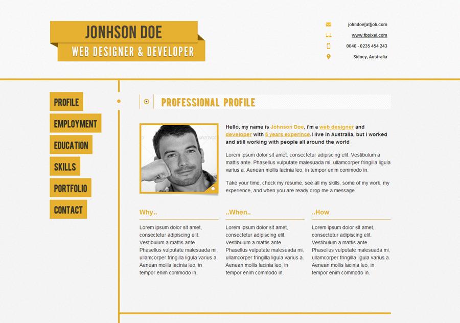 Responsive Resume/CV Resumo - Resumo, default color and styling