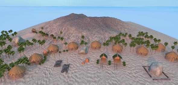 Beach cartoon scene - 3DOcean Item for Sale