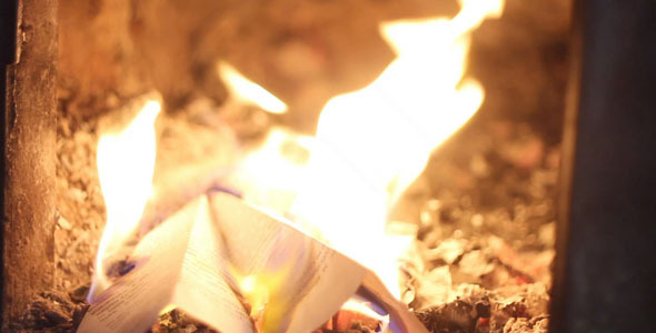 Burning Paper Plane In The Furnace
