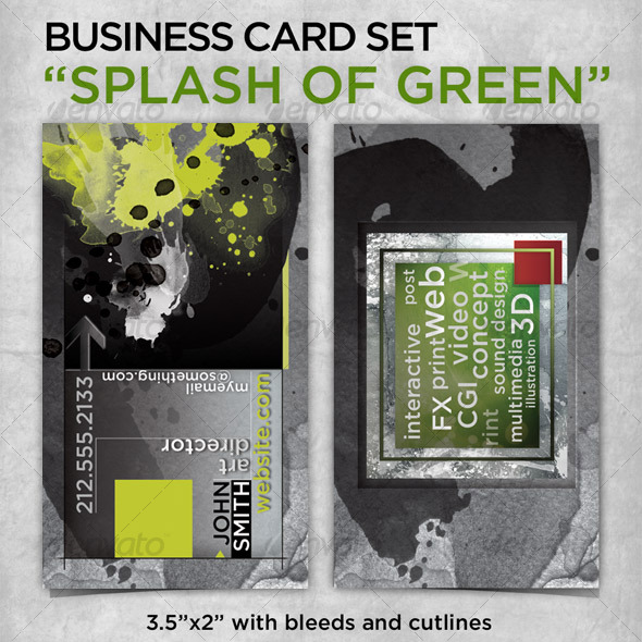 "business card ""The Splash of Green"" - Grunge Business Cards"