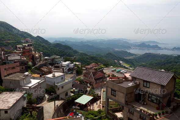 Village on mountains - Stock Photo - Images