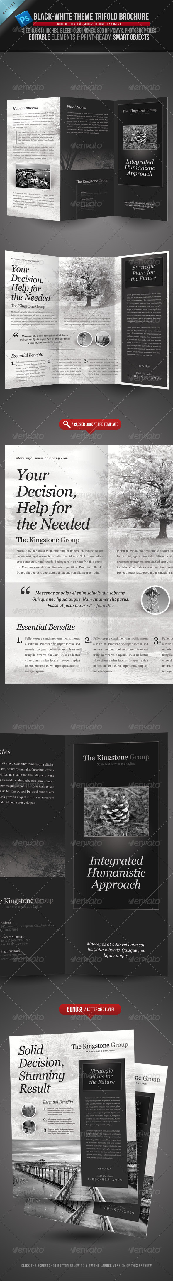 Black & White Theme Trifold Brochure Template - Corporate Brochures