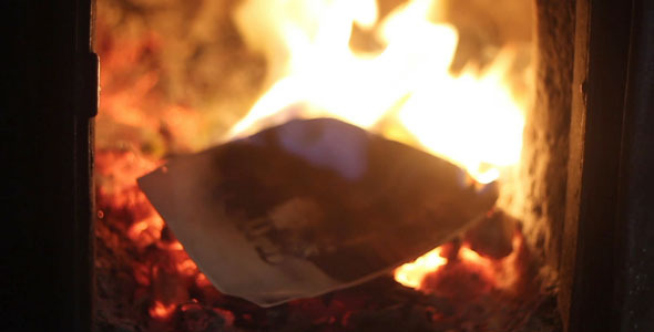 VideoHive Burning Old Photos In The Furnace 2286883