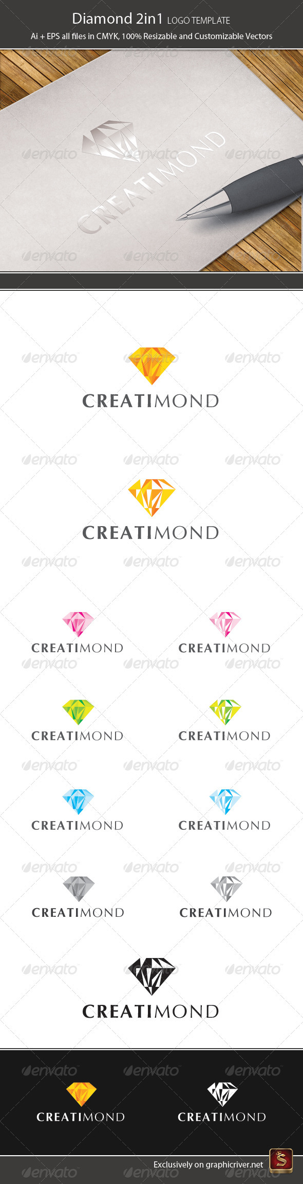 Diamond 2in1 Logo Template - Vector Abstract